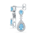 10kt White Gold Pear Created Blue Topaz 1-1/2 Cttw Dangle Diamond Earrings