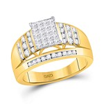 10kt Yellow Gold Princess Diamond Cluster Ring 1 Cttw