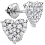 10kt White Gold Womens Round Diamond Heart Cluster Stud Earrings 3/4 Cttw