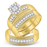10kt Yellow Gold His & Hers Round Diamond Cluster Matching Bridal Wedding Ring Band Set 3/4 Cttw