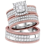 14kt Two-tone Gold His & Hers Round Diamond Cluster Matching Bridal Wedding Ring  Set 1-1/2 Cttw