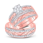 10kt Rose Gold His & Hers Round Diamond Cluster Twist Matching Bridal Wedding Ring Set 1.00 Cttw