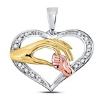 10kt Tri-Tone Gold Womens Round Diamond Mom Mother Child Hands Pendant 1/12 Cttw