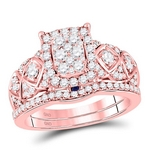 14kt Rose Gold Womens Round Diamond Vintage-inspired Bridal Wedding Engagement Ring  Set 1.00 Cttw