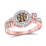10kt Rose Gold Womens Round Brown Color Enhanced Diamond Cluster Ring 1/4 Cttw