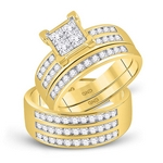 10kt Yellow Gold His & Hers Princess Diamond Cluster Matching Bridal Wedding Ring Set 1-5/8 Cttw