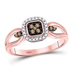 10kt Rose Gold Round Brown Diamond Square Cluster Ring 1/8 Cttw