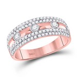 10kt Rose Gold Round Diamond Band Ring 1/2 Cttw