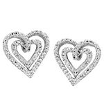 0.05 Ct.tw  Diamond Heart Duo Earrings in Sterling Silver