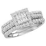 0.90 Ct.tw. Composite Diamond Bridal Invisible Ring in 10K White Gold