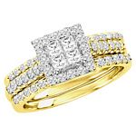 0.90 Ct.tw. Composite Diamond Bridal Invisible Ring in 10K Yellow Gold