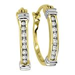 0.06 Ct.tw Diamond Huggies Gold & Silver Tone Earrings in Sterling Silver