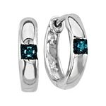 0.04 Ct.tw. Blue Diamond Hoop Earrings in Sterling Silver