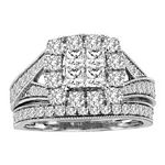 0.90 Ct.tw. Composite Diamond Bridal Invisible Ring in 14K White Gold