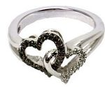 0.11 Ct.tw. Black & White Diamond Ring in Sterling Silver