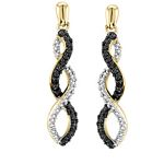 0.07 Ct.tw. Black & White Diamond Earrings in Gold Tone Sterling Silver