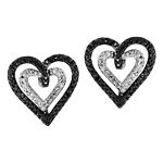 0.05 Ct.tw Black & White Diamond Heart Duo Earrings in Sterling Silver