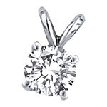 0.50 Ct.tw. Premium Stud Solitaire Pendant in 14K White Gold