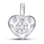 10kt White Gold Womens Round Diamond Small Heart Cluster Pendant 1/12 Cttw
