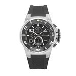 Men%27s Giorgio Milano Stainless Steel Unidirectional Rotating Bezel Watch with Black Dial & Date