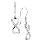 10kt White Gold Diamond Infinity-weave 1/5 Cttw Dangle Ear-wire Earrings