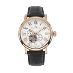 Men%27s Giorgio Milano Stainless Steel IP Rose Gold Watch,  Visible Balance Wheel & 24 hour Indicator