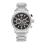Men%27s Giorgio Milano Stainless Steel Silver Watch with Three Dials, Black Face & Date