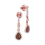 10kt Rose Gold Womens Round Brown Color Enhanced Diamond Dangle Earrings 1/2 Cttw