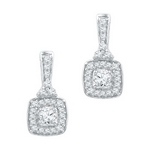 10kt White Gold Round Diamond Square 1/2 Cttw Dangle Earrings