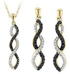 0.08 Ct.tw. Black & White Diamond Earrings &  0.06 Ct.tw. Pendant Set  in Sterling Silver