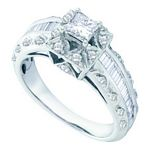 0.94 Ct.tw. Diamond Bridal Ring with 0.45 Ct.tw. Center Princess Cut Diamond in 14K White Gold