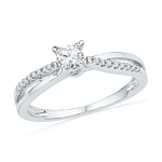 10kt Gold Round Diamond Solitaire Crossover Promise Bridal Ring 1/4 Cttw