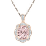 10kt Rose Gold Oval Lab-Created Morganite Oval Diamond Pendant 2.00 Cttw