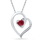 10kt Gold Round Lab-Created Ruby Heart Love Pendant .03 Cttw
