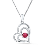 10kt Gold Round Lab-Created Ruby Heart Love Pendant 3/8 Cttw
