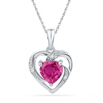 10kt White Gold Round Lab-Created Ruby Heart Love Pendant 1.00 Cttw