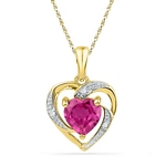 10kt Yellow Gold Round Lab-Created Pink Sapphire Heart Pendant 1.00 Cttw
