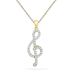 10kt Gold Round Diamond Treble Clef Music Pendant 1/3 Cttw