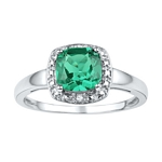 Sterling Silver  Cushion Lab-Created Emerald Solitaire Diamond Ring 1-3/4 Cttw