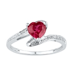 Sterling Silver Heart Lab-Created Ruby Solitaire Diamond Ring 1-1/10 Cttw