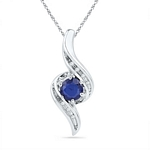 Sterling Silver Round Lab-Created Blue Sapphire Solitaire Ribbon Pendant 3/4 Cttw