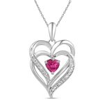 Sterling Silver Round Lab-Created Pink Sapphire Double Heart Pendant 3/4 Cttw