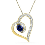 10kt Gold Oval Lab-Created Blue Sapphire Heart Outline Pendant 3/4 Cttw