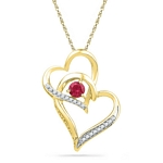 10kt Gold Round Lab-Created Ruby Heart Love Pendant 1/3 Cttw