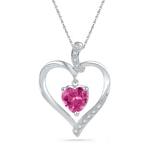 Sterling Silver  Lab-Created Pink Sapphire Heart Pendant 1-7/8 Cttw