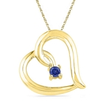 10kt Gold Round Lab-Created Blue Sapphire Heart Love Pendant 1/8 Cttw