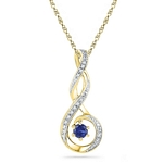 10kt Gold Round Lab-Created Blue Sapphire Diamond Teardrop Pendant .03 Cttw