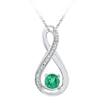 Sterling Silver Round Lab-Created Emerald Infinity Diamond Pendant 1/2 Cttw