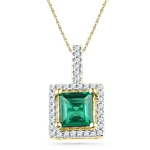 10kt Gold Cushion Lab-Created Emerald Solitaire & Diamond Pendant 1-3/8 Cttw