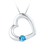 Sterling Silver Round Lab-Created Blue Topaz Heart Pendant 1/6 Cttw
